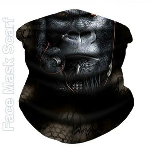 Unisex Face Mask Scarf, Tribal Gorilla Celtic Goth